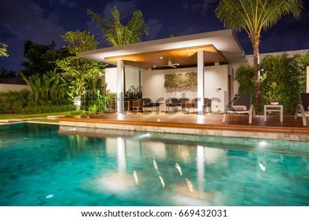 Expensive Home Luxury Designer Swimming Pool Stock Photo 533079070 ...