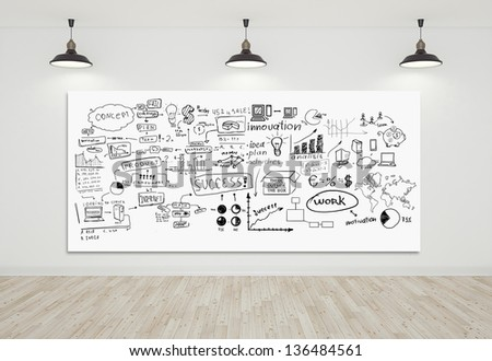 interior and poster with business tags - stock photo