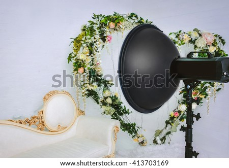 Interior and the equipment of a photographic studio ready for realization of photosession - stock photo