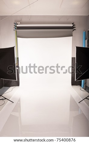 Interior and the equipment of a photographic studio ready for realization of photosession. - stock photo