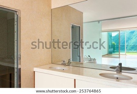 Interior apartment, modern bathroom under construction