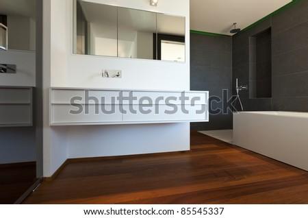 interior apartment, new bathroom, parquet floor - stock photo