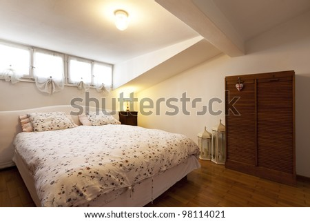 interior apartment, small loft furnished, bedroom