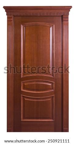 Interior apartment wooden door isolated on white  - stock photo