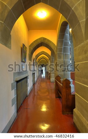 Interior arches and corridor of a historical church in victoria, british columbia, canada