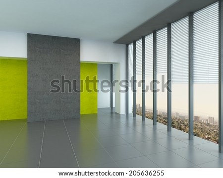 Interior architectural background of a large empty room with yellow wall accents and floor-to-ceiling panoramic windows reflecting on a grey floor - stock photo
