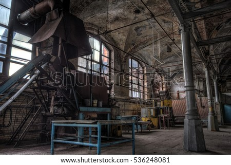 Interior architecture of abandoned meat processing plant.  Slaughterhouse Rosenau, Kaliningrad, Konigsberg