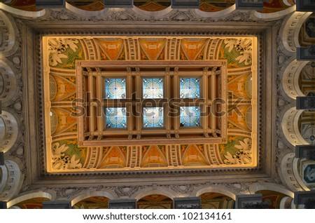 Interior architecture of Library of Congress - Washington DC - stock photo