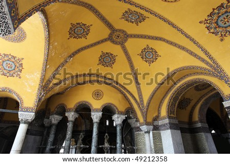 Interior architecture of the Hagia Sophia in Istanbul, Turkey - stock photo