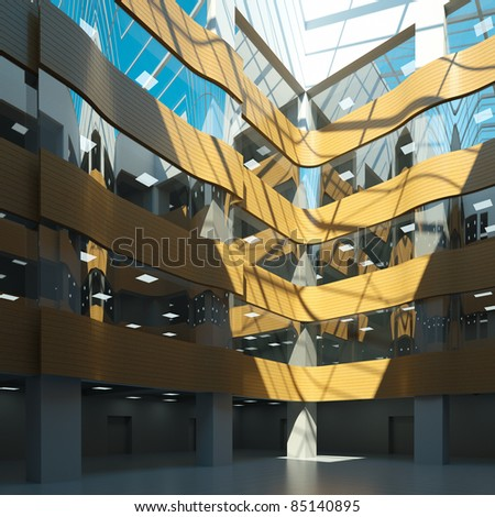 interior atrium in an office building, 3d render - stock photo