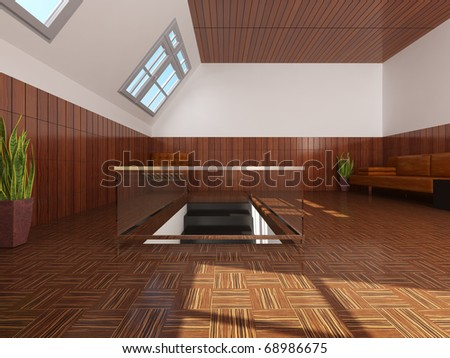 interior attic - stock photo