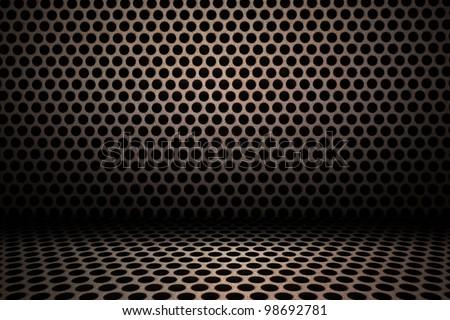 interior background of circle mesh pattern texture - stock photo
