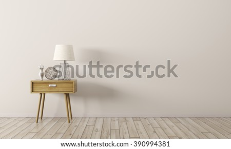 Interior background of living room with wooden side table 3d render - stock photo