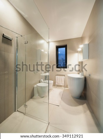 Interior, bathroom of a modern house - stock photo