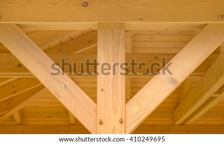 Interior beams on a wooden structure - stock photo