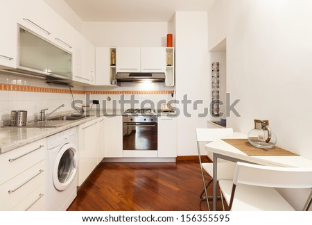 Interior, beautiful apartment, room, kitchen view - stock photo