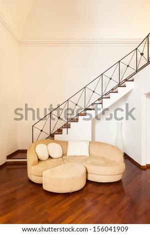 Interior, beautiful apartment, room, sofa view - stock photo