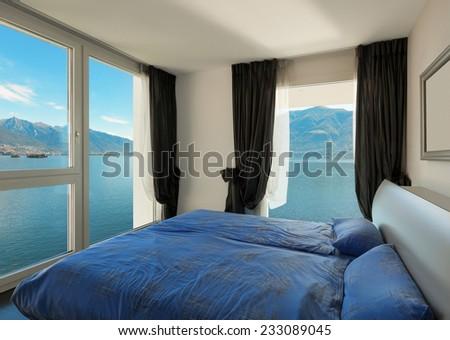 Interior, beautiful modern apartment, bedroom - stock photo