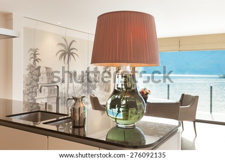 Interior, beautiful modern apartment, elegant living with kitchen - stock photo