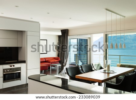 Interior, beautiful modern apartment, open space