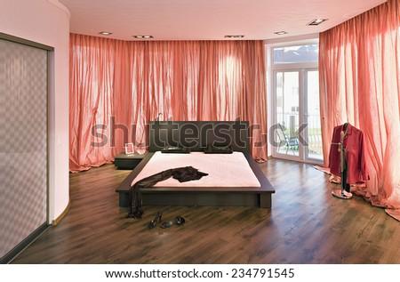 Interior bedroom luxury estate home - stock photo