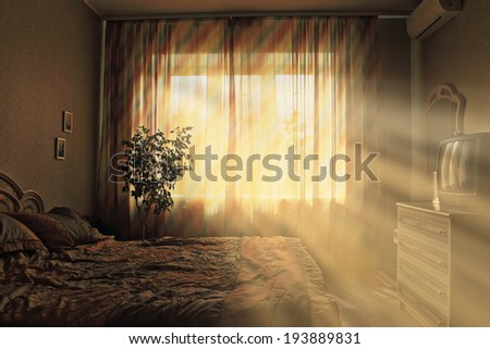interior bedroom sunset - stock photo