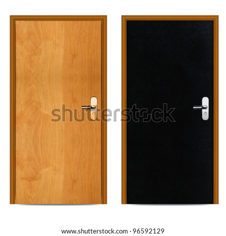 Interior Black and brown apartment wooden door isolated on white. - stock photo