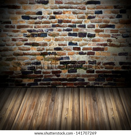interior blank  setup with wooden floor and old wall ready for your design - stock photo