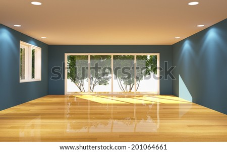 Interior Blue Room Tree View with Wooden Floor Nature Light.