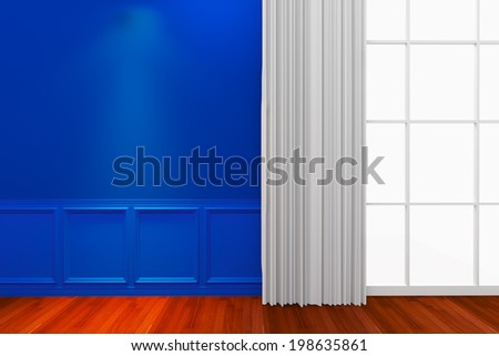 Interior blue wall with window