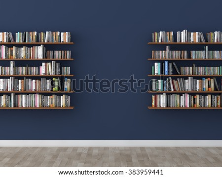 interior bookshelf room library   - stock photo