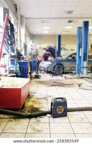 Interior car service station - stock photo