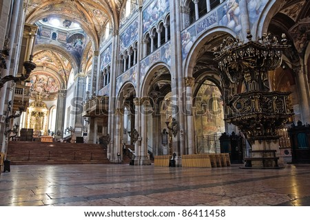 Interior Cathedral. Parma. Emilia-Romagna. Italy. - stock photo
