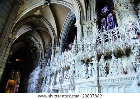 Interior Chartres Cathedral - stock photo
