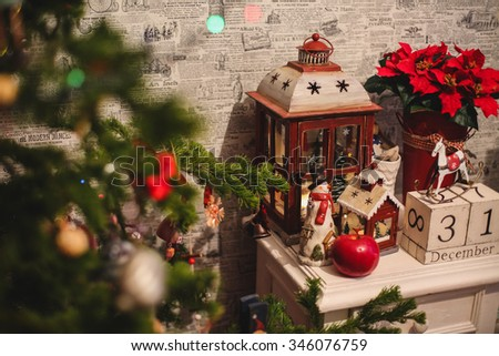 Interior Christmas home decoration on the table. December 31 - stock photo