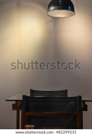 interior coffee shop seat with lighting, worm tone color