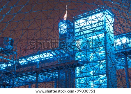 Interior Color of a metal structure.#4 (Night Scene) - stock photo