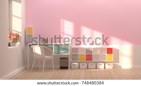 Interior Colorful Decoration White Chair Roomoffice Stock ...