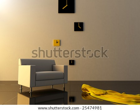 Interior - Comfortable seat in modern style room - stock photo