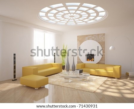 interior concept with fire - stock photo