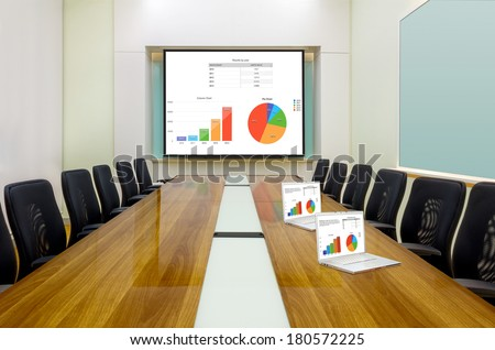Interior conference room, meeting room, boardroom, Classroom, Office, Business data information on projector board and laptop. - stock photo
