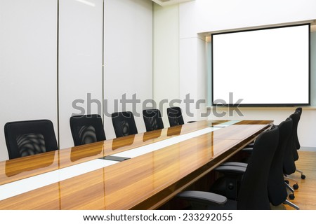 Interior conference room, meeting room, boardroom, Classroom, Office, with white projector board. - stock photo
