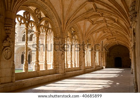 Interior corridor of the Mosteiro Dos Jeronimos, Lisbon, Portugal - stock photo