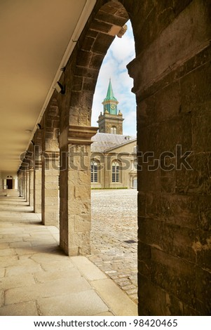 Interior courtyard at the Irish Museum of Modern Art (IMMA) in Dublin, Ireland. - stock photo
