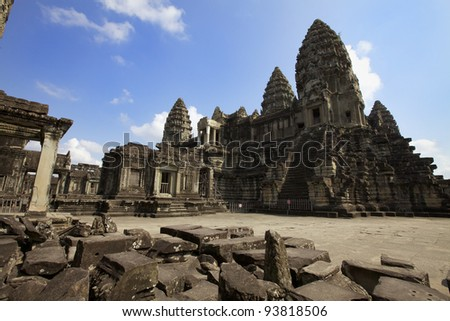 Interior courtyard of Angkor Wat Temple in Cambodia - stock photo