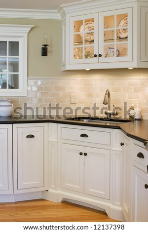 interior custom kitchen - stock photo