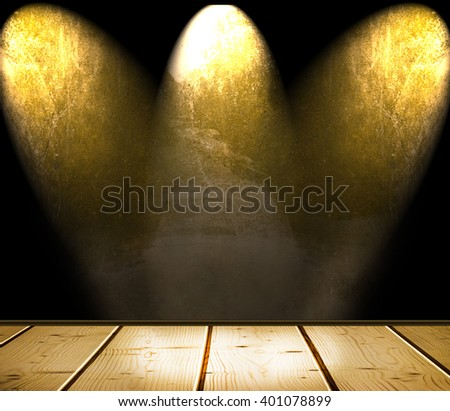 interior dark room illuminated by three spots in the center is used as a background - stock photo