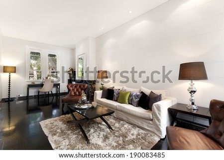 Interior decoration of a living room - stock photo
