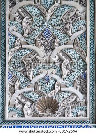 interior decoration of Alcazar in Seville, Spain - stock photo