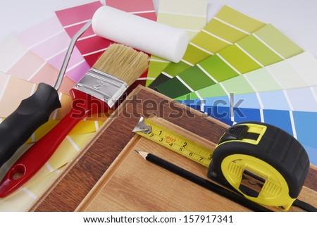 interior decoration repair improvement planning - stock photo